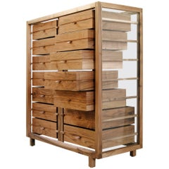 """Optimum"" Glass and Walnut Chest of 14 Drawers by Stephane Lebrun for Dessie'"