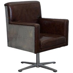 Aged Vintage Brown Leather Aviator Office Chair with Aluminium Hammer Frame Work