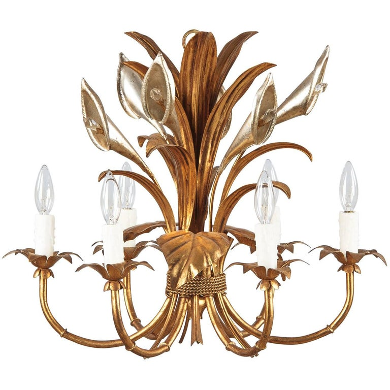 French Gilded Metal Chandelier, 1950s For Sale