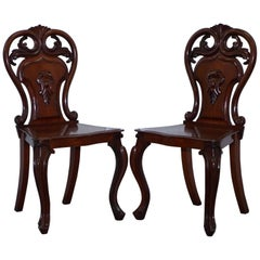 Pair of Rare 1870 Victorian Hand-Carved Shield Backed Solid Mahogany Hall Chairs