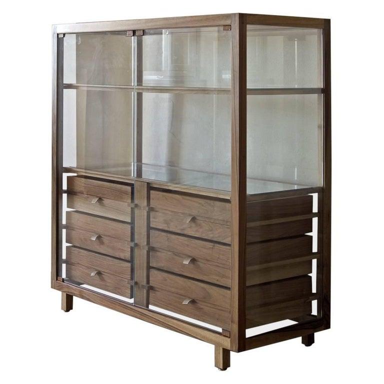 """Optimum"" Glass Shelf and Walnut Display Cupboard by Stephane Lebrun for Dessie'"
