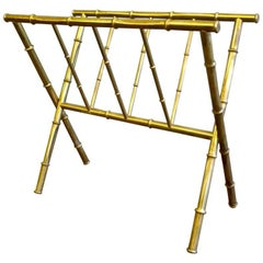 Faux Bamboo Brass Magazine Rack