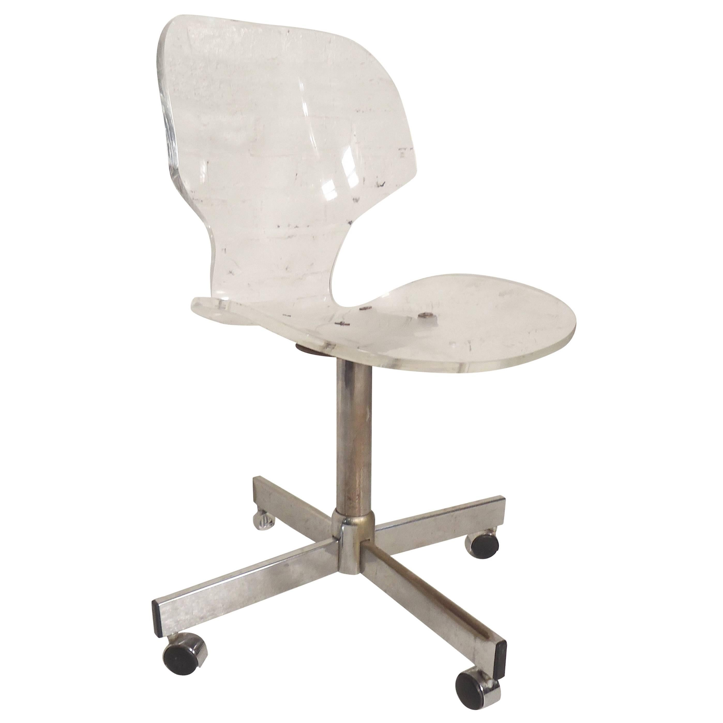 Attrayant Mid Century Modern Lucite Desk Chair For Sale