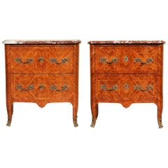 Pair of 1920s Parquetry Marble-Top Commodes