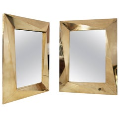 Pair of Brass Brutalist Wall Mirrors, circa 2000, Italy