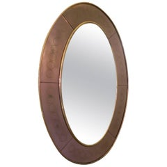 Cristal Arte Bronze Glass Oval Wall Mirror