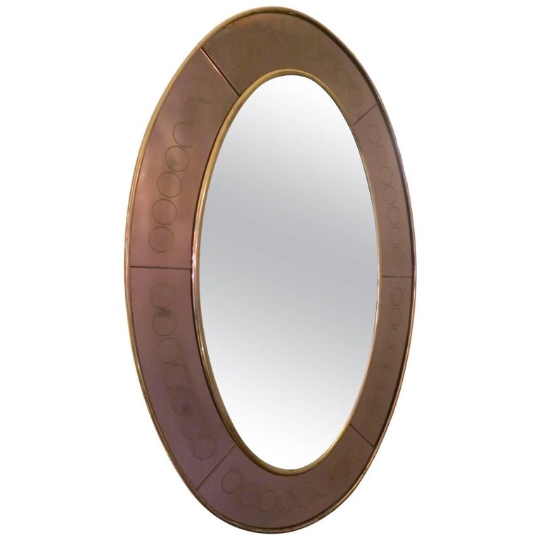 Cristal Arte Bronze Glass Oval Wall Mirror For Sale