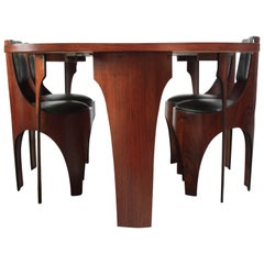 Henry Glass 'Cylindra' Walnut Extendable Dining Table and Four Chairs