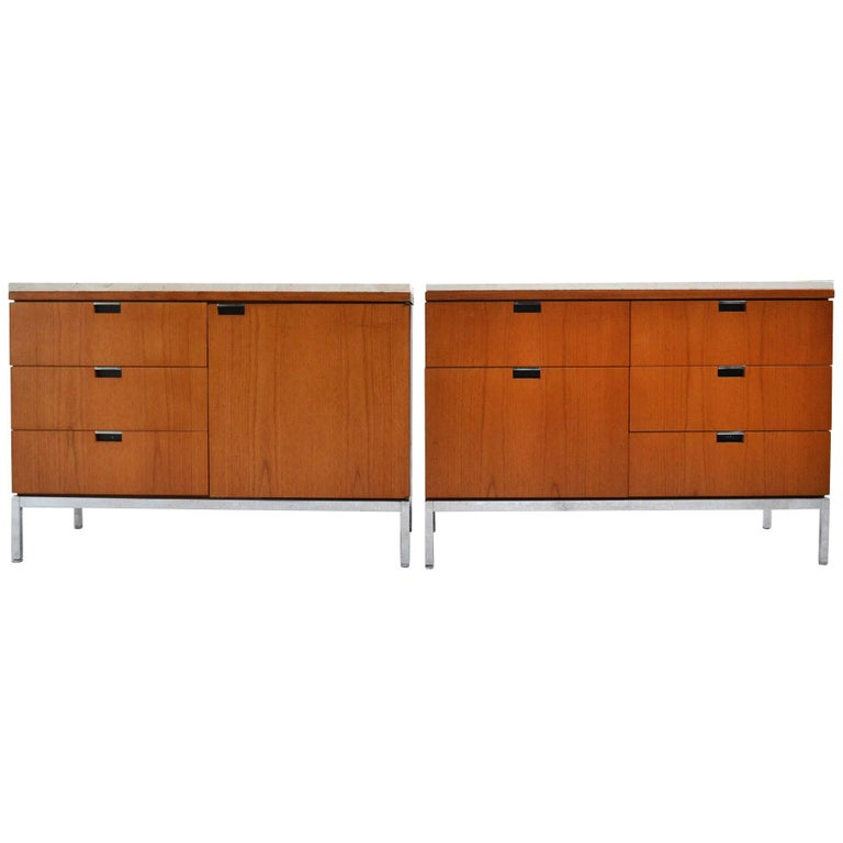 Florence Knoll Teak Credenzas with Travertine Tops For Sale