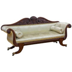 Carved Mahogany Classical Sofa, Salem circa 1815-1825 Attributed Samuel McIntire