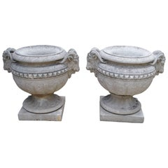 Pair of Cast Stone Ram's Heads Urns from France, circa 1960