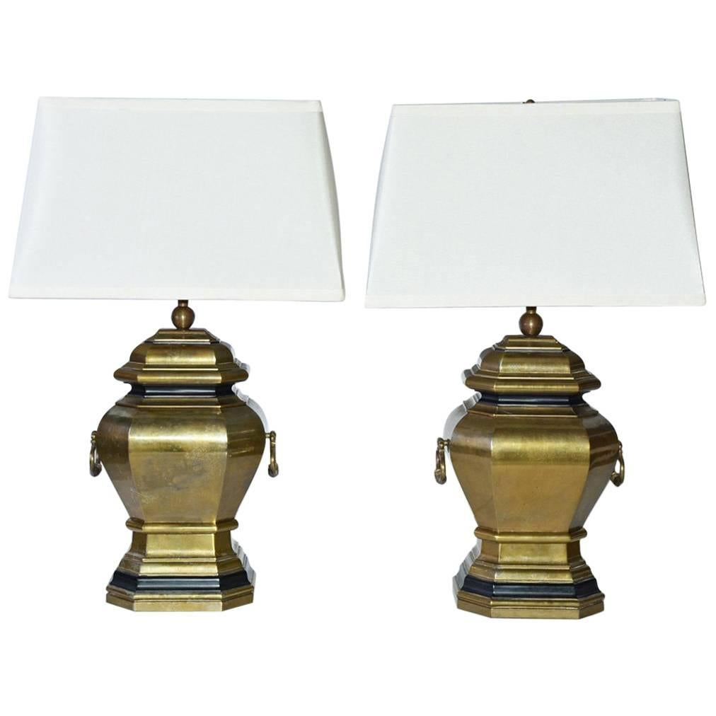 Vintage Brass Handled Lamps with Shades, Pair