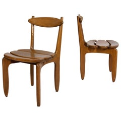 "Pair of ""Thierry"" Oak Chairs by Guillerme et Chambron, circa 1960, France"