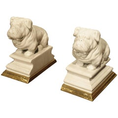 Pair of Porcelain and Bronze Bulldog Bookends from France