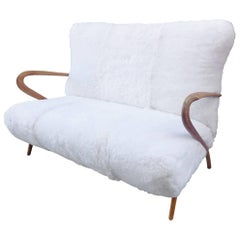 Beautiful 1960 French Bench Reupholstered in a Sheep Fur