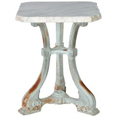 Small Victorian Painted Cast Iron Base Marble-Top Side Table