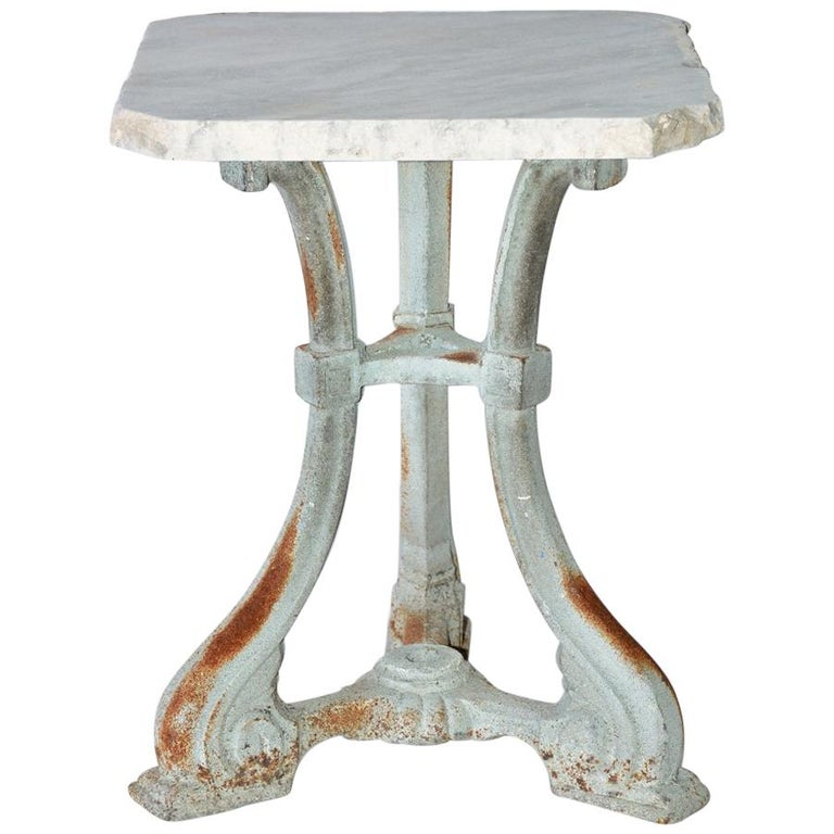 Small Victorian Painted Cast Iron Base Marble-Top Side Table For Sale