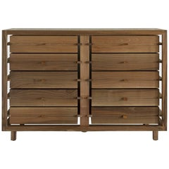"""Optimum"" Glass and Walnut Chest of 10 Drawers by Stephane Lebrun for Dessie'"