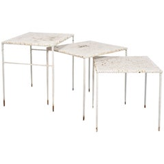 "Set of Three ""Nesting"" Tables by Mathieu Matégot, circa 1950, France"