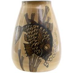 Scandinavian Modern Josef Ekberg Unique Fish Vase, Gustavsberg, Sweden