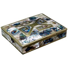 Sterling and Brass Box with Abalone Inlay and Rosewood Interior Taxco, Mexico
