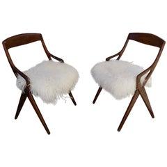Beautiful Pair of Italian Reupholstered Chairs, circa 1960