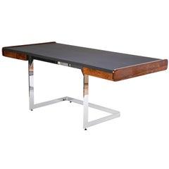 Rosewood Desk on Floating Chrome Base by Ste. Marie Laurent