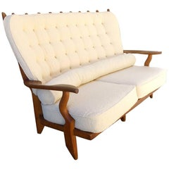 Beautiful Guillerme et Chambron Reupholstered Bench, circa 1960