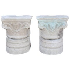 Pair of Antique Carved Stone Capitals and Bases