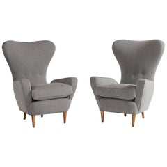 Pair of Tall Wingback Italian Armchairs, circa 1950
