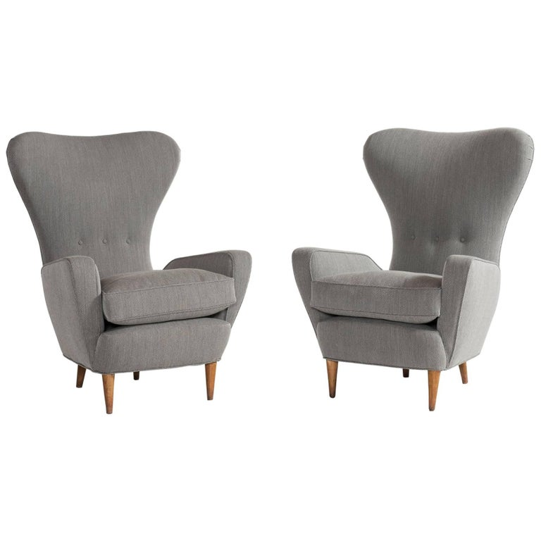 Pair of Tall Wingback Italian Armchairs, circa 1950 For Sale