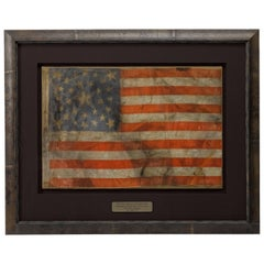 30-Star Antique American Flag with Large Central Haloed Star, circa 1848-1851