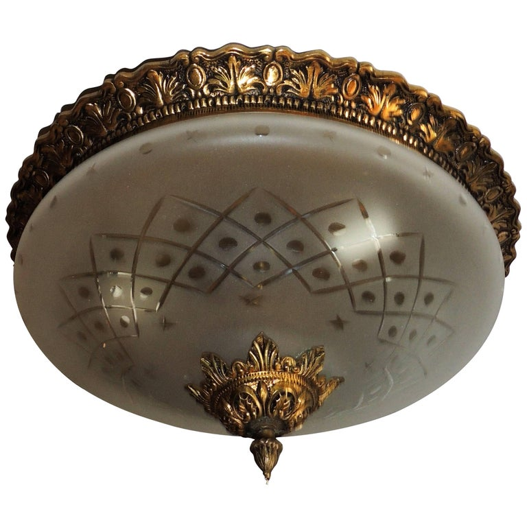 Wonderful French Vintage Neoclassical Bronze Etched Glass Flush Mount Fixture