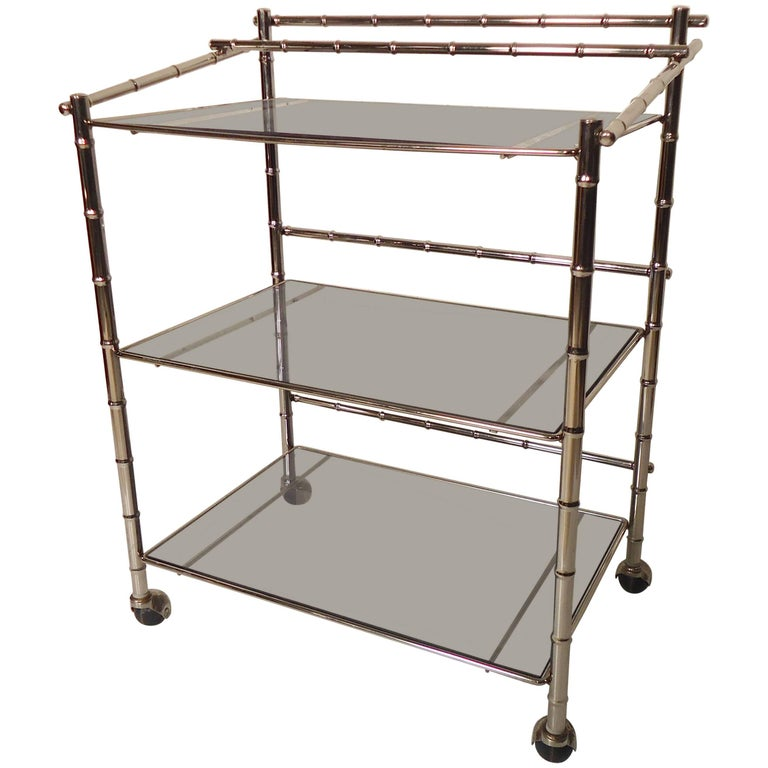 Chrome Midcentury Bar Cart