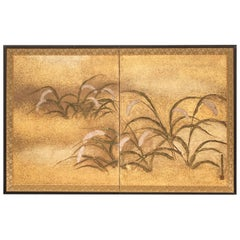 Japanese Two-Panel Screen, Millet Design with Gold Dust