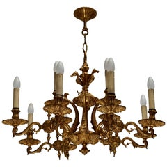 Beautiful and Elegant Solid Bronze Chandelier with Fishes in the Centre