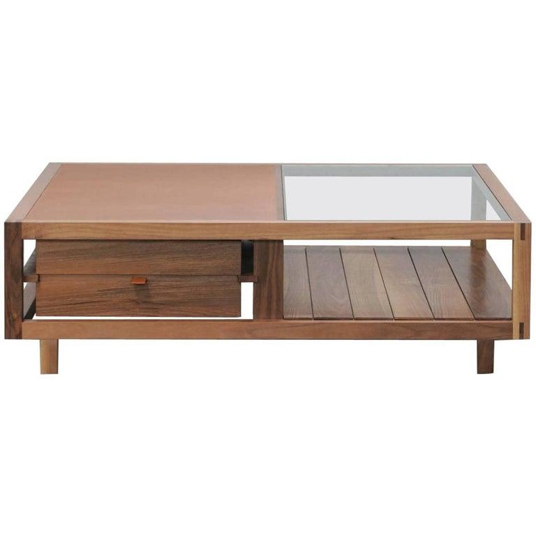 """Optimum"" Walnut Low Coffee Table Designed by Stephane Lebrun for Dessie"