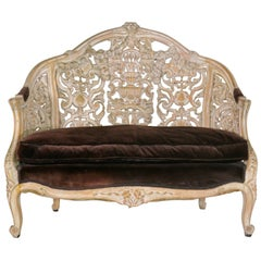 19th Century Italian Heavily Hand Carved Baroque Settee Sofa