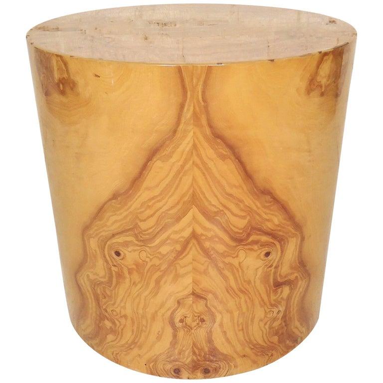 Burl Wood Round Pedestal Table