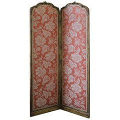 Early 20th Century Giltwood Two-Panel Dressing Screen in Scalamandre Silk