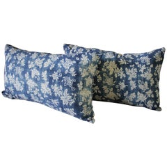 Pair of Vintage Blue Batik Japanese Indigo Lumbar Pillows