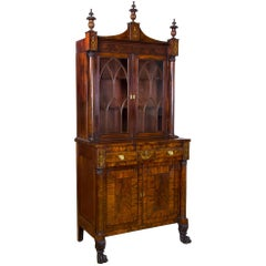 Classical Secretary Bookcase, New York, circa 1822-1824, Labeled Edward Holmes
