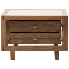 """Optimum"" Walnut Two Drawers Bedside Table by Stephane Lebrun for Dessie'"