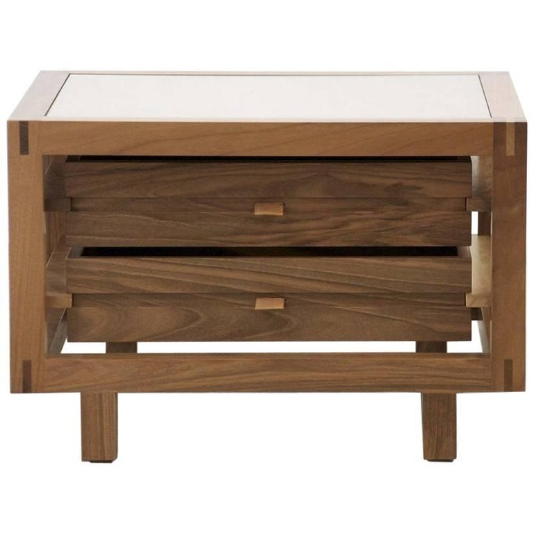 Optimum Walnut Two Drawers Bedside Table By Stephane