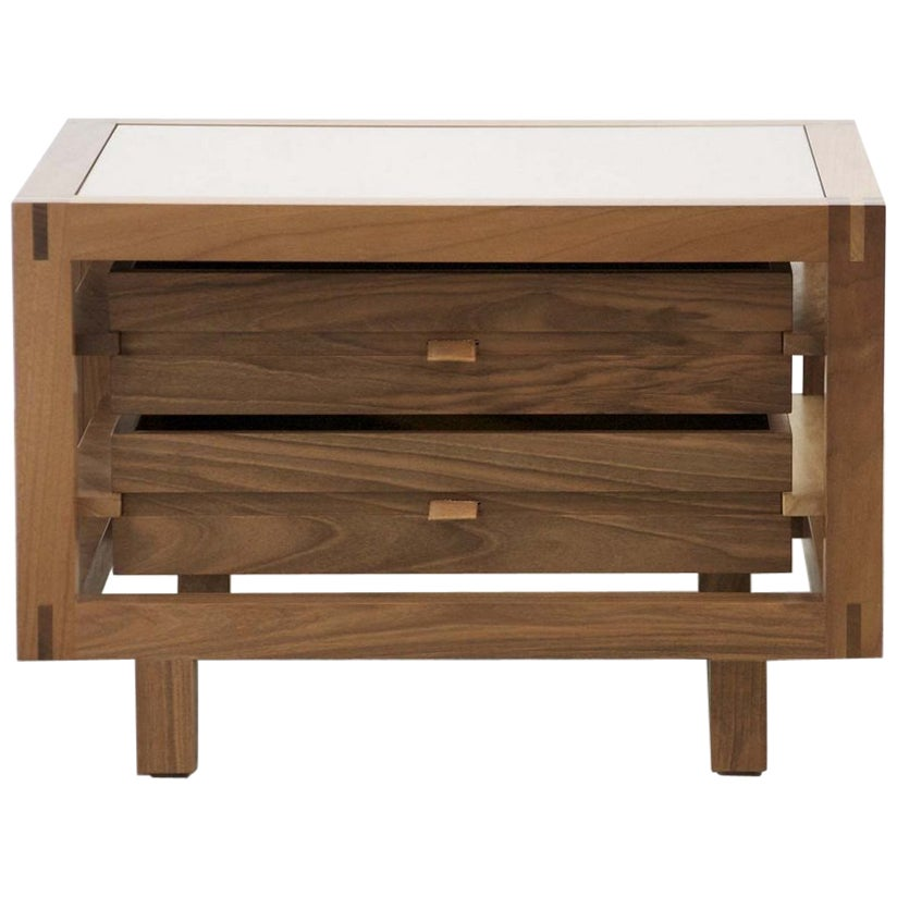 """""""Optimum"""" Walnut Two Drawers Bedside Table by Stephane Lebrun for Dessie'"""