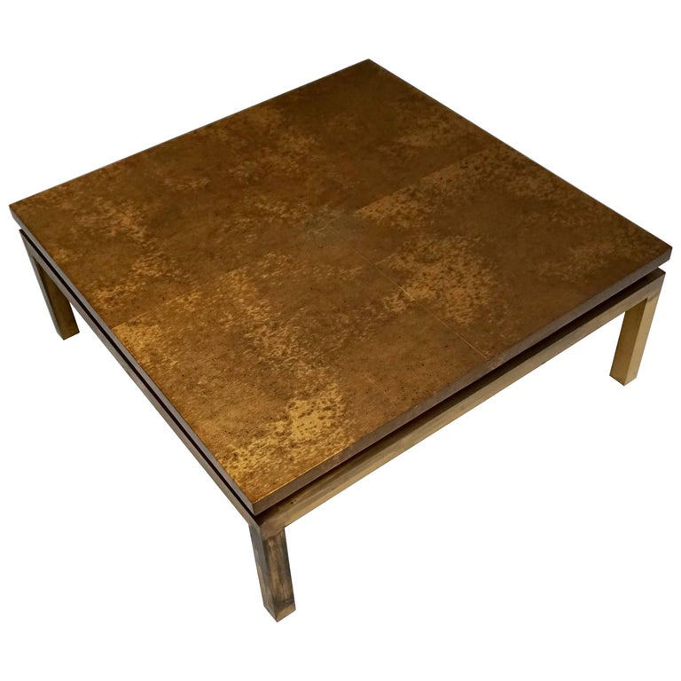 Italian Mid-Century Modern Gold Coffee Table For Sale