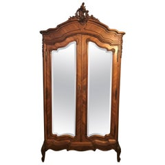 Louis XV Style Late 19th-20th Century Double Door Rosewood Queen-Sized Armoire