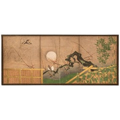 "Japanese Six-Panel Screen ""Moon Over Plum"""
