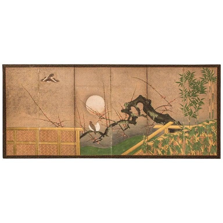 "Japanese Six-Panel Screen ""Moon Over Plum"""
