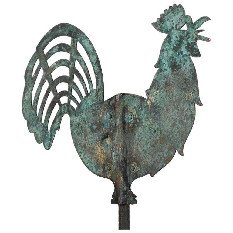 19th Century Silhouette Copper Cockerel Weathervane